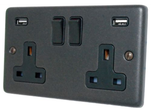 G&H CG910B Standard Plate Graphite 2 Gang Double 13A Switched Plug Socket 2.1A USB